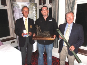 Clive Collier Chairman Team England Fly Fishing, Terry Phillips 2013 National Rivers Champion, Russell Weston Snowbee UK Ltd Managing Director