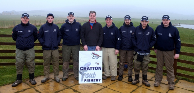 The 2014 England Bank Team with Roger Brown, owner of Chatton Fishery
